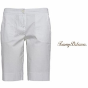White Jet Away Twill Bermuda Shorts by Tommy Bahama