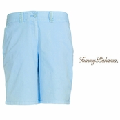 "Pastel Blue Jet Away Twill 9"" Bermuda Shorts by Tommy Bahama"