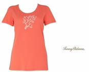 Burnt Coral Presley Beaded Coral Reef Tee Shirt by Tommy Bahama