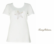 White Presley Beaded Starfish Tee Shirt by Tommy Bahma