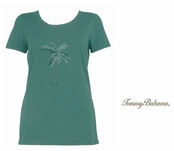 Azure Water Bugle Bead Palm Tree Tee by Tommy Bahama