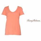 Bright Peach Booker V Neck Tee by Tommy Bahama