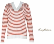 Burnt Coral Drumm Stripe Hoodie by Tommy Bahama