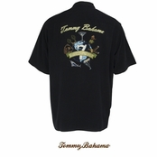Black Seven Wonders Of The World Silk Signature Camp Shirt by Tommy Bahama
