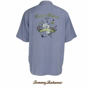 Light Blue Seven Wonders Of The World Silk Signature Camp Shirt by Tommy Bahama