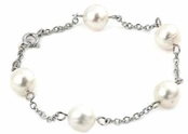 Freshwater Pearl by the Yard 10mm Sterling Silver Anklet