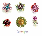 Fancy Flowers Crystal Toe Ring by Toe Brights