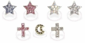 Crystal Stars Crosses & Moon Toe Rings