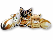 Golden Cats Sterling Silver Enameled Pin