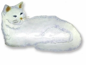 White Kitty Sterling Silver Enameled Pin