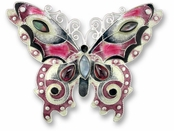 Garnet Butterfly Sterling Silver Enemeled & Gemstone Pin