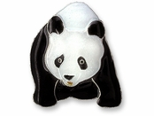 Giant Panda Sterling Silver Enameled Pin by Zarah Co