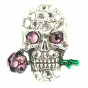 Crystal Silver Skull-Purple Rose Phone Decor by Toe Brights