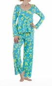 BedHead Blue and Green Butterfly Lounge Set for Women