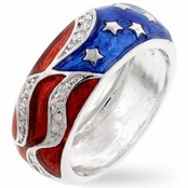 Enameled and  CZ US Flag Band Ring