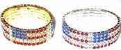 Crystal Rhinestone Five Row US Flag Stretch Bracelet