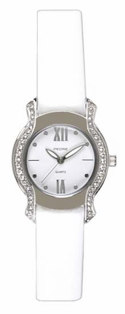 Crystal Framed White Leather Band  Watch by PEDRE New York