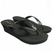 Tommy Bahama Black Bimini Pineapple Wedge Flip Flops