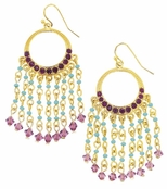 Spring Street Turquoise Multi Beaded Gypsy Chandelier Earrings