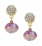 Spring Street Pink Glitzy Glass Drop Earrings
