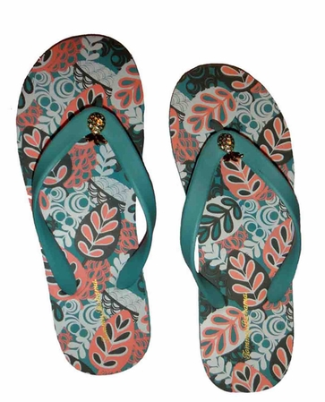 Tommy Bahama Waterfall 2 Graphic Leaves Bimini Pineapple Flip Flops