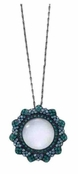 Gem Dandy Teal Crystal Flower  Magnifier Necklace by Spring Street
