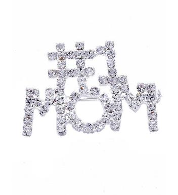 Crystal Rhinestone #1 Mom Pin