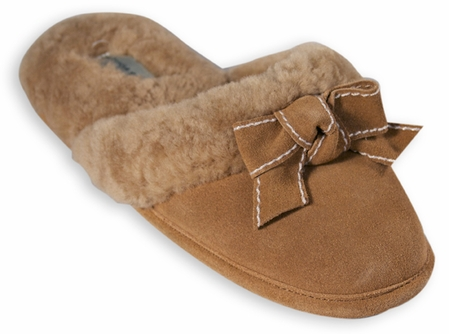 Camille Shearling Lined Suede Slippers by Patricia Green