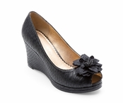 Black Courtney Python Textured Peep Toe Wedge by Lindsay Phillips