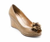 Tan Courtney Python Textured Peep Toe Wedge by Lindsay Phillips
