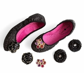 Black Glitter Liz Ballet Flats Bling in a Box by Lindsay Phillips