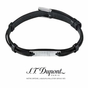 Black Leather and Sterling Silver Men's Bracelet by S.T. Dupont