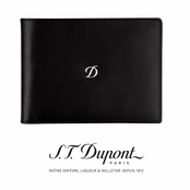 Ligne D Black 6-Credit Card Leather Wallet by S.T. Dupont