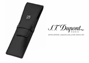 Ligne D Black Leather 2-Pen Case by S.T. Dupont