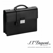Ligne D Black Leather Two Gussett Briefcase by S.T. Dupont