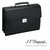 Ligne D Black Leather Three Gusset Briefcase by S.T. Dupont