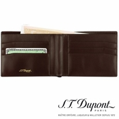 Ligne D Brown 6-Credit Card Leather Wallet by S.T. Dupont