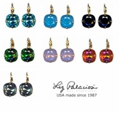 Colores Swarovski Crystal Solitaire Cushion Leverback Earrings by Liz Palacios