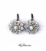 Swarovski Crystal Silver Layered Flower Leverback Earrings by Liz Palacios