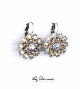 Swarovski Crystal Silver Golden Shadow Multi Layered Flower Leverback Earrings by Liz Palacios
