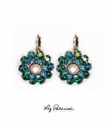 Swarovski Crystal Emerald Multi Layered Flower Leverback Earrings by Liz Palacios