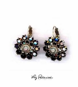 Swarovski Crystal Jet Layered Flower Leverback Earrings by Liz Palacios