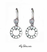 Swarovski Crystal White Alabaster Circle Drop Leverback Earrings by Liz Palacios