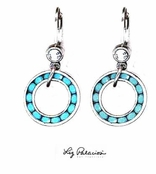 Swarovski Crystal Turquoise Circle Drop Leverback Earrings by Liz Palacios