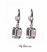 Swarovski Crystal Faceted Emerald Cut Drop Leverback Earrings by Liz Palacios