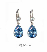 Swarovski Crystal Aquamarine Teardrop Leverback Earrings by Liz Palacios