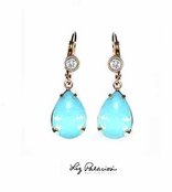 Swarovski Crystal Pacific Opal Teardrop Leverback Earrings by Liz Palacios
