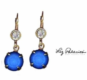 Swarovski Crystal White Opal Sky Blue Drop Leverback Earrings by Liz Palacios