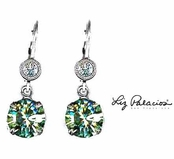 Swarovski Crystal Silver Chrysolite Drop Leverback Earrings by Liz Palacios