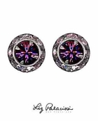 Swarovski Crystal Silver Amethyst Diamond Framed Rondell Post Earrings by Liz Palacios